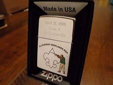 BOY SCOUTS BSA SPORTING CLAYS 2001 1ST RUNNER ZIPPO LIGHTER ALLEGHENY HIGHLANDS