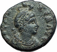 EUDOXIA Arcadius Wife 401AD Authentic Ancient Roman Coin VICTORY CHI-RHO i77604