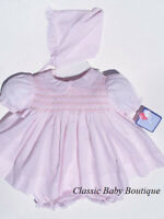 NWT Petit Ami Pink Smocked Lace 3PC Dress Preemie Reborn Baby Girls Bonnet
