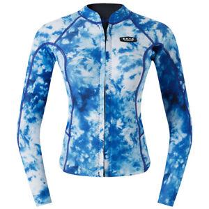 Women's Wetsuit Top, 2mm Neoprene Warm Jacket Long Sleeve Front Zipper Shirt