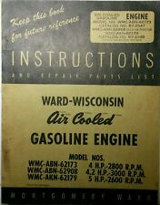 Montgomery Ward Wisconsin Engine Owner, Engine, Service, Parts Manual AKN ABN