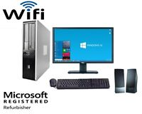 Fast HP Desktop PC Computer Dual Core 3.4Ghz 8GB 2TB Windows 10 Pro WIFI monitor