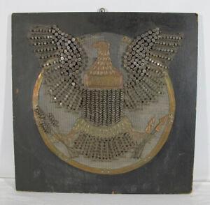 Antique 30's Brutalist Nail Wall Folk Art American Federal Eagle Great Seal yqz
