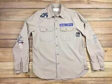 Ralph Lauren Denim & Supply Camo American Flag Patch Military L/S Shirt M Tan