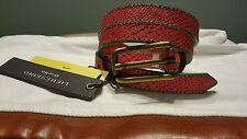 NEW LIEBESKIND BERLIN Red Green Skinny Snake Leather Belt M 85 NWT