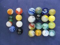 Vintage Marbles Assorted Colors Sizes 24 Total Blue Yellow Green White Orange