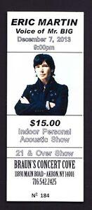 Mr. Big Eric Martin Unused Concert Ticket - 2013 Solo Tour - Akron NY