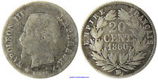NAPOLEONE III , 20 CENTESIMI ARGENTO TESTA NUDA , 1860 BB STRASBURGO