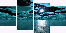 "20"" X 40""+ Long Blue Teal Black Canvas Picture 4 Multi Panel Set Modern Seas"