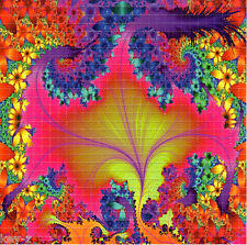 NEON FLOWER FRACTAL BLOTTER ART perforated psychedelic LSD Acid Art paper sheet