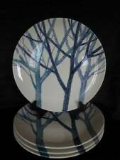 Noritake Trees Dinner Plates Craftone Japan Lot of 4 White Blue 8770