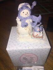 CHERISHED TEDDIES 848581 NORA SNOWBEAR PULLING SLED FIGURINE WITH BOX