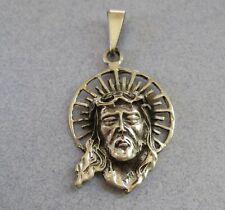 Mexican 925 Silver Taxco Oxidized 3-D Jesus Christ Face Head Religious Pendant