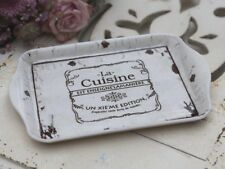 Tablett Cuisine Antic weiß 21x14 cm antik Chic Antique Shabby Brocante