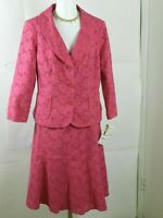 Jones New York Suit  2 Piece Skirt Suit Blazer Fuchsia Womens Size 12 NWT $280