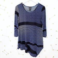 Clara Sun Woo Top Size Small Blue Striped Asymmetric 3/4 Sleeves Stretch Knit