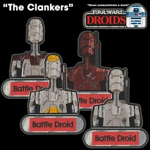 """Star Wars DROIDS """"The Clankers"""" Battle Droids set of 8 embroidered iron patches"""