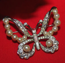STRIKING CROWN TRIFARI BUTTERFLY PIN WITH FAUX PEARLS & R.S-EXCELLENT