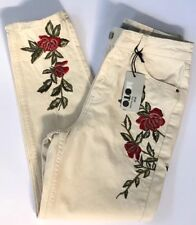 Topshop Moto Mom Jeans Cream Floral Embroidered Skinny High Waisted Sz 4 26x30