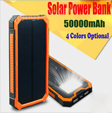 Waterproof 50000mAh Dual USB Portable Solar Charger Solar Power Bank For Phone