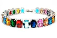 Silver Multi Colour 52.5ct Chunky Tennis Bracelet (925)