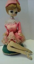 Vintage Mod 60s Big Eyes Bradley Musical  Pink Dress Sitting Collectible Doll
