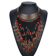 Chunky Bohemian Red & Copper Beaded Tassel Fringe Coin Statement Necklace