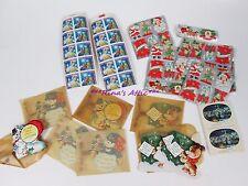 Huge Lot Vintage Christmas Card Gummed Paper Seals Stickers Stamps
