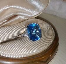 Helzberg 10k White gold 5ct Blue checkerboard Emerald Swiss Topaz diamond ring