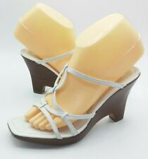 Enzo Angiolini Womens Heels Size 6 White Strappy Wedge Sandals Pumps Open Toe