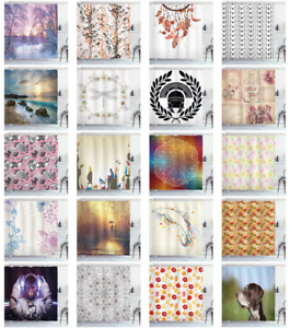 Cloth Shower Curtain Fabric Bathroom Set & Hooks Decorative Ambesonne