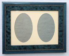 Cadre photo neuf 2 x portrait ovale bleu biptyque corde style marqueterie France