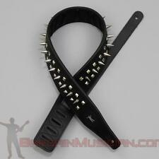 Leather Guitar / Bass Strap - With Spikes & Studs - Adjustable Sizing