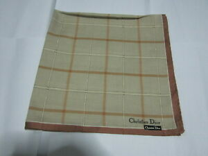 """USED BROWN PLAID PATTERN COTTON 18"""" POCKET SQUARE HANDKERCHIEF HANKY FOR MEN#2"""