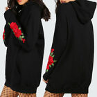 Femme Manche longue Sweat-shirt Hoodie Robe Embroidered Hoody Pullover S-5XL
