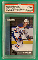 CONNOR MCDAVID PSA 10 2015 UPPER DECK PARKHURST ROOKIES BLUE ... LOW POP