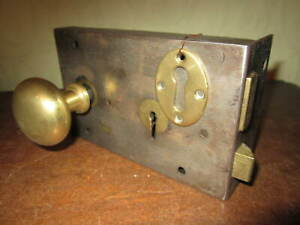 A high quality Victorian brass & steel rim lock by Gibbons of Wolverhampton