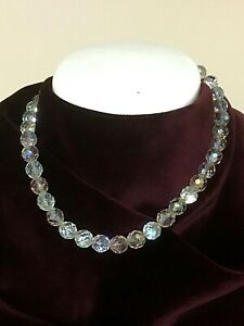 VINTAGE SINGLE STRAND SPARKLY AURORA BOREALIS FACETED CRYSTAL NECKLACE 1950'S