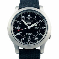 Seiko 5 Auto Black Dial Military Style Canvas Strap SNK809K2 Mens Watch RRP £169