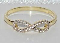 "UK Hallmarked 9ct Yellow Gold 0.10ct ""Infinity"" Ladies Ring - size O 1/2"