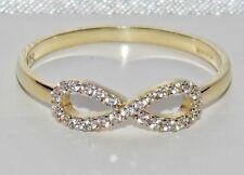 "UK Hallmarked 9ct Yellow Gold 0.10ct ""Infinity"" Ladies Ring size R"