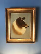Fine Antique Victorian Oil Painting Collie Dog 19th Century