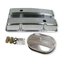 For 58-86 SBC Chevy 350 Finned Polished Aluminum Valve Covers & Air Cleaner Kit