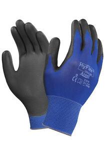 12 x Ansell Hyflex 11-618 Ultra Lightweight Precision Work Gloves