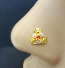 Ring Mother Day Sale Indian Nose Piercing Orange Stone Nose Pin Gold Plated Nose