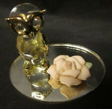 "SCREECH HOOT OWL GLASS FIGURINE Miniature Gold Mirror Base Free US Shipping 2"""