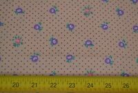 """By 1/2 Yd, 46"""" Wide, Vintage 1970's-90's, Lavender & Pink on Tan Cotton, M7641"""