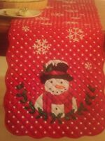 St Nicholas Square Snowman Quilted Red & White Table Runner w/ Scalloped Edges
