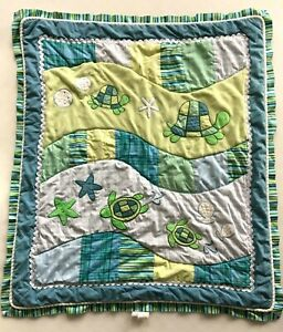 Cocalo Baby Crib Quilt Turtles Blue Green Colorful Reversible Textured Applique