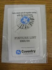 1985/1986 Fixture List: Coventry Building Society - Four Page Card Covering The